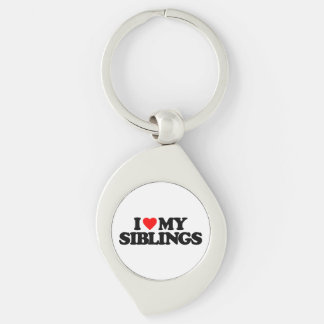 I LOVE MY SIBLINGS Silver-Colored SWIRL METAL KEYCHAIN