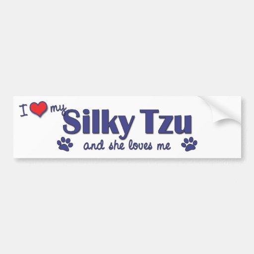 I Love My Silky Tzu (Female Dog) Bumper Sticker