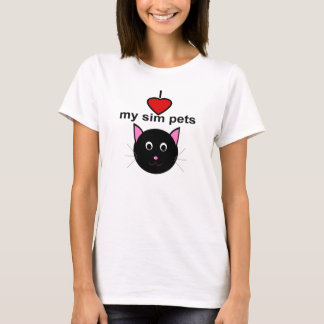 I love my sim pets - Women's Black Cat T-Shirt