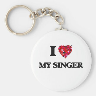 I Love My Singer Basic Round Button Key Ring