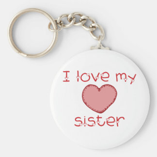 I love my sister basic round button key ring