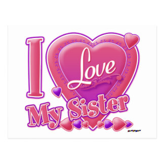 I Love My Sister pink/purple - heart Postcard