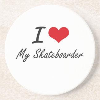 I Love My Skateboarder Drink Coaster