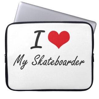 I Love My Skateboarder Laptop Sleeves