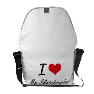 I Love My Skateboarder Messenger Bags