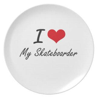 I Love My Skateboarder Plate