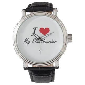 I Love My Skateboarder Wrist Watch