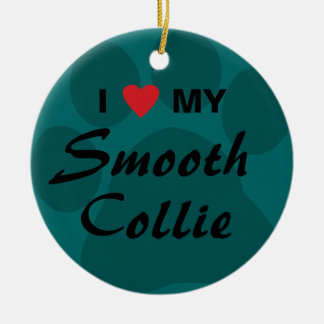 I Love My Smooth Collie Pawprint Round Ceramic Decoration