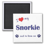 I Love My Snorkie (Male Dog) Square Magnet