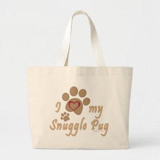 I Love My Snuggle Pug Tote Bags