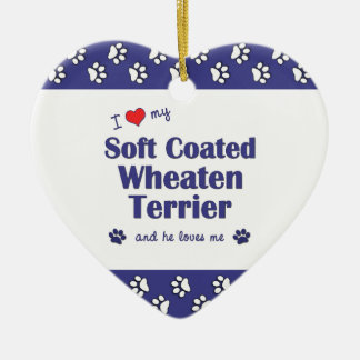 I Love My Soft Coated Wheaten Terrier (Male Dog) Christmas Ornament
