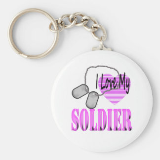 I love my soldier basic round button key ring