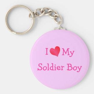 I Love My Soldier Boy Basic Round Button Key Ring