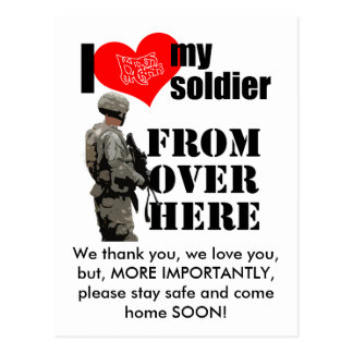 """I Love My Soldier """"Come home SOON"""" Postcard"""