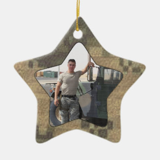 I Love My Soldier Military Personalized Photo Camo Christmas Ornament