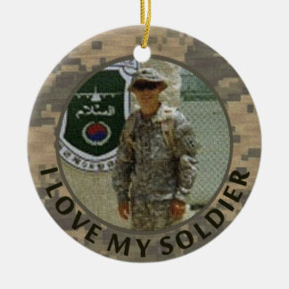 I Love My Soldier Military Photo Customizable Christmas Ornament