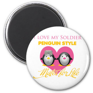 I Love My Soldier Penguin Style 6 Cm Round Magnet