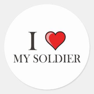 I Love My Soldier Round Stickers