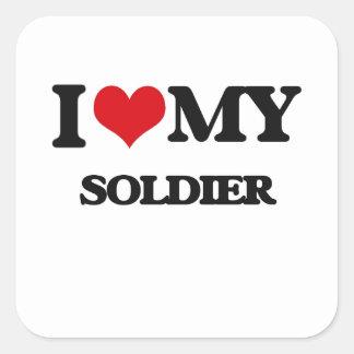 I love my Soldier Square Sticker