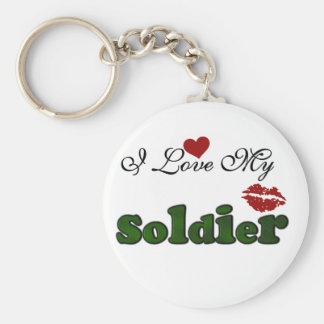 I Love My Soldier Tshirts and Gifts Basic Round Button Key Ring