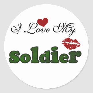 I Love My Soldier Tshirts and Gifts Round Sticker