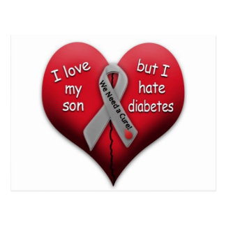I love my son but Hate Diabetes Postcard