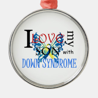 I Love My Son with Down Syndrome Silver-Colored Round Decoration
