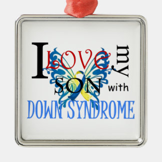 I Love My Son with Down Syndrome Silver-Colored Square Decoration