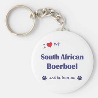 I Love My South African Boerboel (Male Dog) Basic Round Button Key Ring