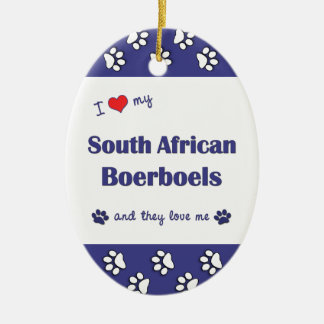 I Love My South African Boerboels (Multiple Dogs) Double-Sided Oval Ceramic Christmas Ornament