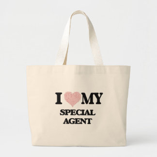 I love my Special Agent (Heart Made from Words) Jumbo Tote Bag