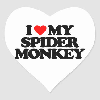 I LOVE MY SPIDER MONKEY HEART STICKER