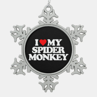I LOVE MY SPIDER MONKEY SNOWFLAKE PEWTER CHRISTMAS ORNAMENT