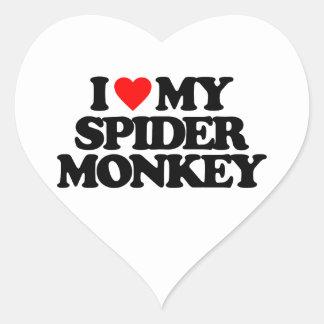 I LOVE MY SPIDER MONKEY HEART STICKERS