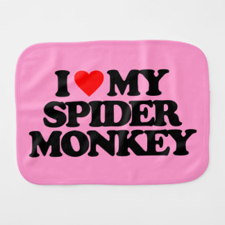 I LOVE MY SPIDER MONKEY BURP CLOTH