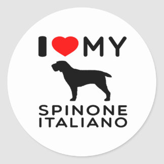 I Love My Spinone Italiano. Classic Round Sticker