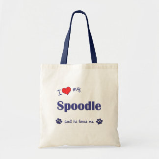 I Love My Spoodle (Male Dog) Tote Bag