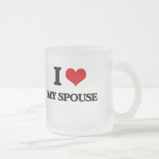 I love My Spouse Frosted Glass Mug