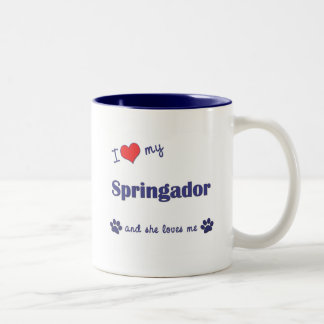 I Love My Springador (Female Dog) Two-Tone Coffee Mug