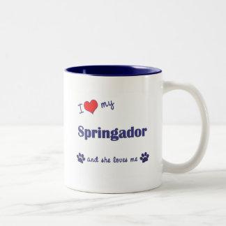 I Love My Springador (Female Dog) Two-Tone Mug