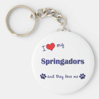 I Love My Springadors (Multiple Dogs) Basic Round Button Key Ring