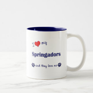 I Love My Springadors (Multiple Dogs) Two-Tone Coffee Mug