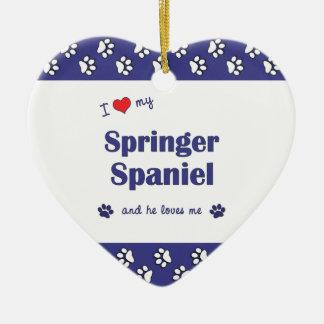 I Love My Springer Spaniel (Male Dog) Ceramic Heart Decoration