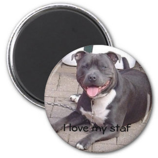 I love my staf 6 cm round magnet