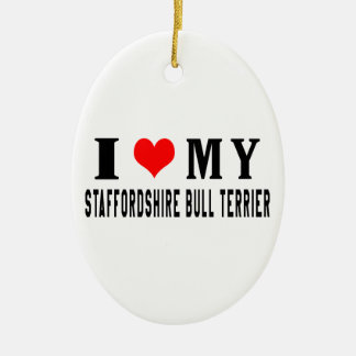 I Love My Staffordshire Bull Terrier Christmas Tree Ornament
