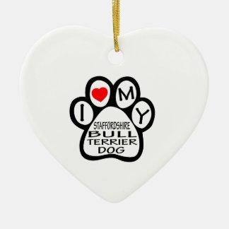 I Love My Staffordshire Bull Terrier Dog Ornament