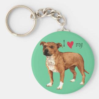 I Love my Staffordshire Bull Terrier Key Ring