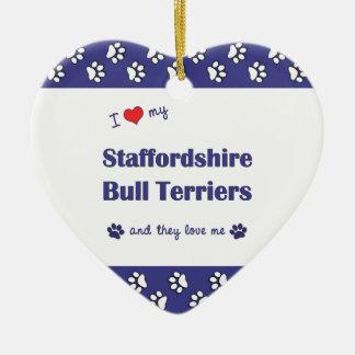 I Love My Staffordshire Bull Terriers (Multi Dogs) Ceramic Heart Decoration