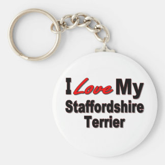 I Love My Staffordshire Terrier Keychain