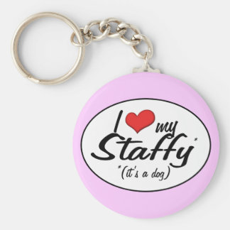 I Love My Staffy (It's a Dog) Basic Round Button Key Ring